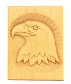 An eagle carved into balsa wood, a type of hardwood.