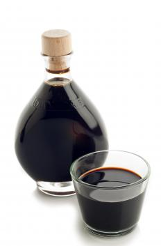 Balsamic vinegar, which is used to make a balsamic marinade.