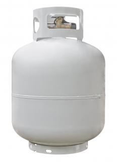 A propane tank for a space heater.