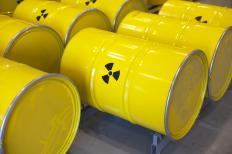 Radioactive waste is usually buried in underground vaults.