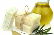 Soaps that incorporate exfoliants can help rub away dry skin.