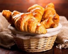 Croissants are made of flaky pastry dough.