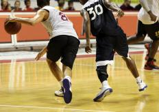 Basketball players may be susceptible to ankle injuries.