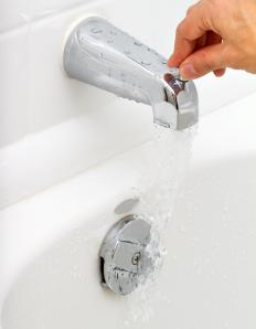 A tab faucet can use a diverter to send the water to a showerhead.