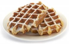 Peach syrup is often used to top waffles.