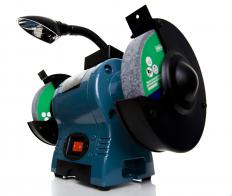 A bench grinder is a tabletop grinding tool featuring two grinding wheels on either end.