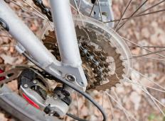 Bicycle gears act as roller sprockets.
