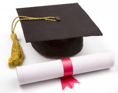 A diploma and mortarboard.