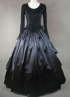 A dress characteristic of the Victorian era that may have been worn for mourning.