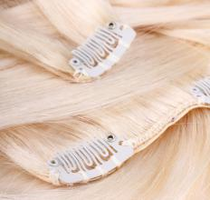 Blonde hair extensions.
