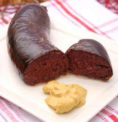 Blood sausage, which is sometimes included in bandeja paisa.