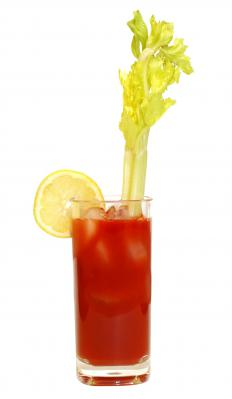Traditionally a Bloody Mary is garnished with a celery stalk.