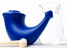 Neti pots contain warm salt water that is used to irrigate the nose.