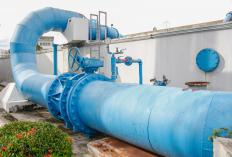 Many municipal sewage treatment plants process millions of gallons of wastewater each day.