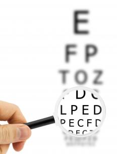 Dim vision may be caused by glaucoma or macular degeneration.