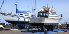 Boat repairs are typically performed in a boatyard.