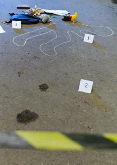 Crime scene reconstruction involves looking at how evidence is dispersed.