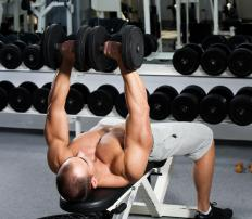 A weight bench supports the individual when he or she is training with weights.