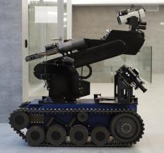 The mobile ground robots used by police and the military often use traction motors and tracked wheels for locomotion.