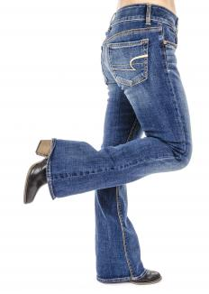 A pair of boot cut jeans.