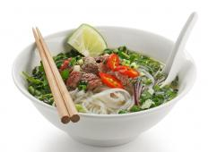 A bowl of pho, a popular Vietnamese soup.