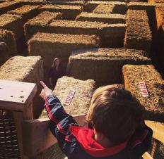 Children may enjoy hay mazes at Halloween time.
