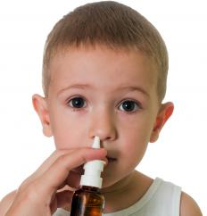 Saline nasal sprays, which consist mostly of a salt-water solution, can safely moisten the inside of the nose.