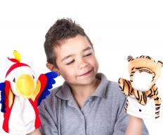 Conventional children's puppets can be used to make a shadow puppet play.