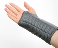 A wrist brace may be worn to alleviate the pain associated with carpal tunnel syndrome.