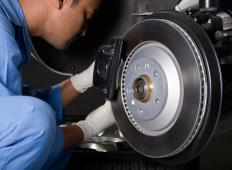 Brake shoes on a car should be checked regularly and replaced when needed.