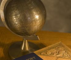 Engraved brass globe.
