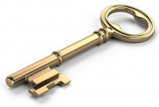 A brass plated key.