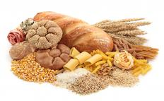Whole grain breads, grains, rice, and pasta are starches.