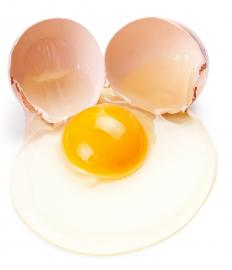 Eggs are commonly used to help bread crumbs adhere to the chicken breasts.