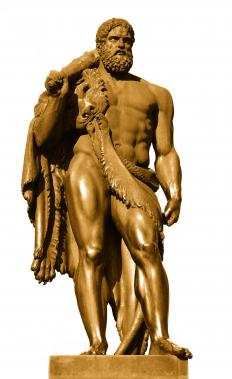 A sculpture of Hercules, who fed Diomedes to his horses.