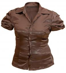 Wearing a dark blouse will help make a woman's shoulders look less broad.