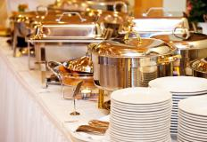 Caterers might set up buffets for parties or meetings.