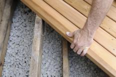 Deck beams are supportive lumber used when building decks.