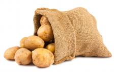 A bag of Russet potatoes.