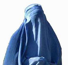 A woman in a burka.