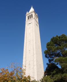 Sather Tower at the University of California, Berkeley. Lawrencium was discovered at UC Berkeley.