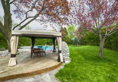 A gazebo creates shade and provides an area for entertaining.