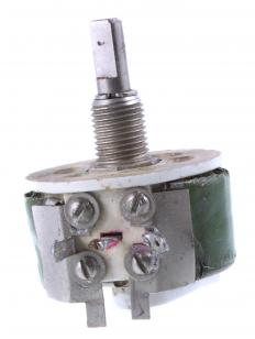 This potentiometer can be secured to a panel with a panel nut.