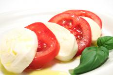 A caprese salad, which includes tomatoes.