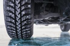 Snow studded tires may help improve traction on icy surfaces.