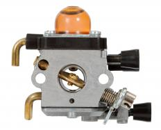 The carburetor mixes air and fuel and distributes this mixture to the engine.