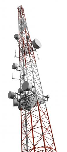 The elements of an antenna array can be found on the top of a cell phone tower.