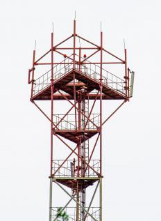 Aerial erectors sometimes work on cellphone towers.