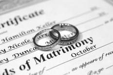 A certificate of matrimony including the bride's maiden name.