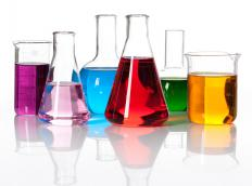 Substances used in chemistry experiments.